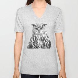 Black and white owl animal portrait Unisex V-Neck