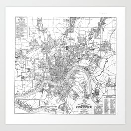 Vintage Map of Cincinnati Ohio (1915) BW Art Print