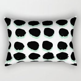 Abstract painted Dots minimal black and white Rectangular Pillow