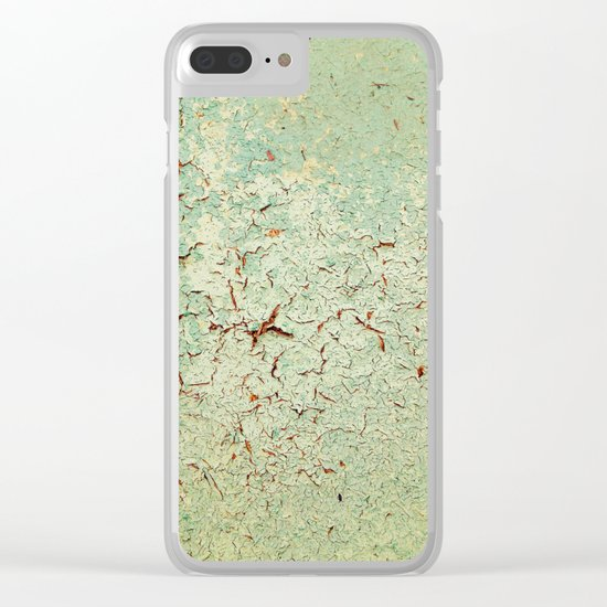 Cracked Wall Texture Green Clear iPhone Case