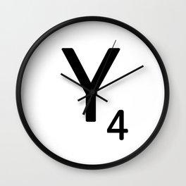 Letter Y - Custom Scrabble Letter Tile Art - Scrabble Y Initial Wall Clock