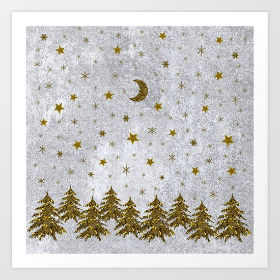 Sparkly Christmas tree, stars, moons on abstract paper Art Print