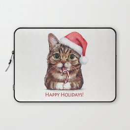 Cat in Santa Hat with Candy Cane Funny Christmas Animal Laptop Sleeve