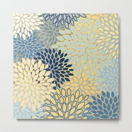Floral Print, Yellow, Gray, Blue, Teal Metal Print