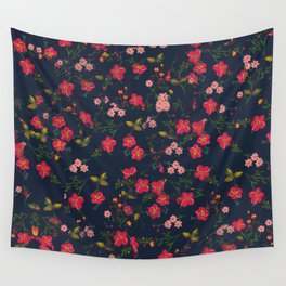 Pink Floral Wall Tapestry