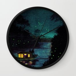 Fireflies at Ochanomizu along the River by Kobayashi Kiyochika Wall Clock