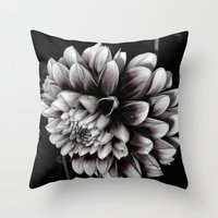 dahlia Throw Pillows featuring Dahlia by BavosiPhotoArt