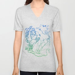 The Masked Fairy - greenish blue version - A masked fairy girl surrounded by butterflies and roses Unisex V-Neck