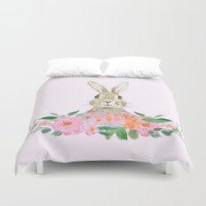 rabbit and pink camellia flower Duvet Cover