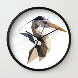Great blue heron Bird geometric art Triangles Wall Clock