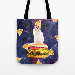 Space Hamster Riding Burger With Nachos Tote Bag