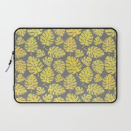 Leaves in Yellow and Grey Pattern Laptop Sleeve