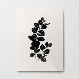Eucalyptus line art - black Metal Print
