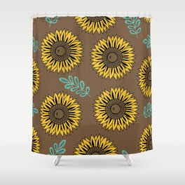 Sunflowers, Foral Pattern - Brown Shower Curtain