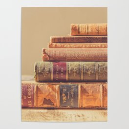 Vintage Book Stack (Color) Poster