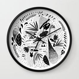 girls floating with plants Wall Clock