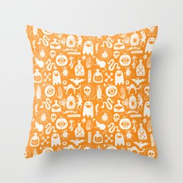 Halloween Linen Stencils in Orange Throw Pillow