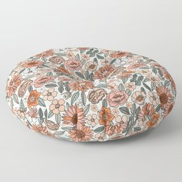 70s flowers - 70s, retro, spring, floral, florals, floral pattern, retro flowers, boho, hippie, earthy, muted Floor Pillow