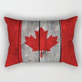 Canada flag on heavily textured woodgrain Rectangular Pillow