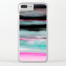 Abstract Pink & Green & Black painting Clear iPhone Case