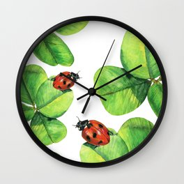 Ladybugs on clover leaves Wall Clock