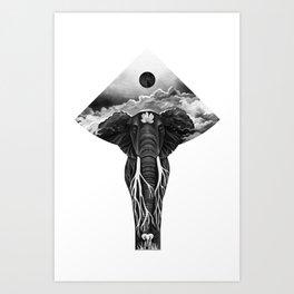 Black Elephant Art Print