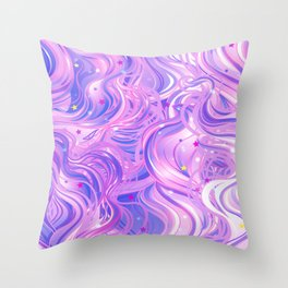 Pink & Purple Waves in the Stars Throw Pillow