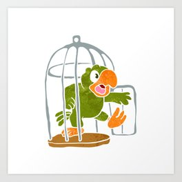 parrot out of the cage Art Print