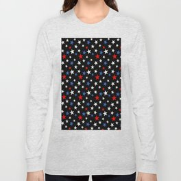 Bold Patriotic Stars In Red White and Blue on Black Long Sleeve T-shirt