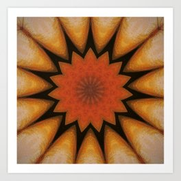 Solar // Mandala Rays Orange Yellow Golden Energy Chakra Healing Light Art Print