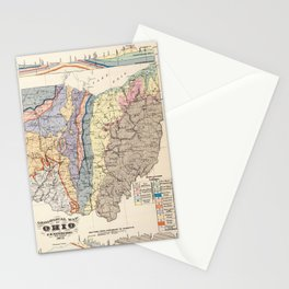 Vintage Geological Map of Ohio (1872) Stationery Cards