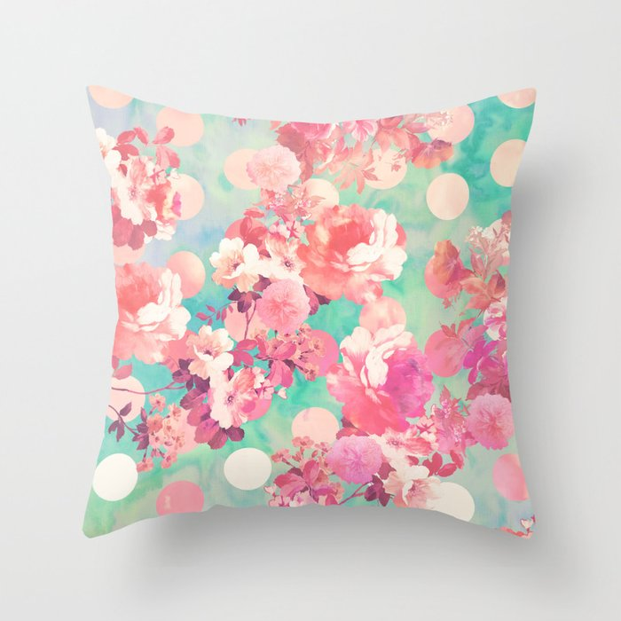 Romantic Pink Retro Floral Pattern Teal Polka Dots Throw Pillow by girlytrend Society6