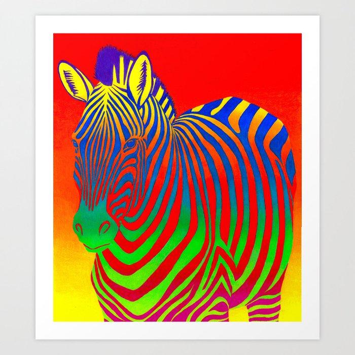 Colorful Psychedelic Rainbow Zebra Art Print
