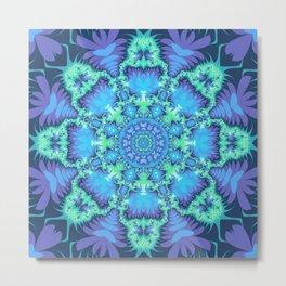 The Aqua Star Mandala Metal Print
