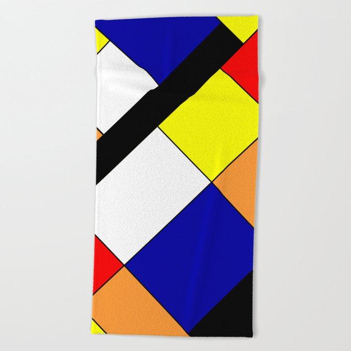 Mondrian #18 Beach Towel