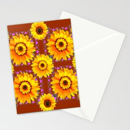 CINNAMON COLOR YELLOW SUNFLOWERS ART Stationery Cards