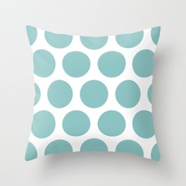 Chalky Blue Large Polka Dots Throw Pillow
