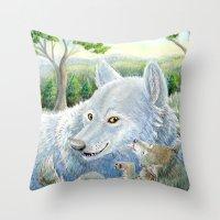 minnesota Throw Pillows featuring Minnesota Wolves by MelanieLehnen