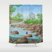 river Shower Curtains featuring  river  by Amy Fan