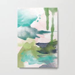 Abstract Brush Strokes, blush pink and aqua palette Metal Print