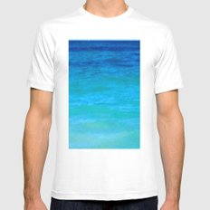 Landscape | Seascape | Water Colours Abstract | Nadia Bonello MEDIUM Mens Fitted Tee White