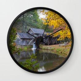 Rustic Mill in Autumn Wall Clock