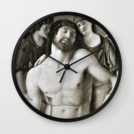 Dead Christ Between Two Angels by Giovanni Bellini Wall Clock