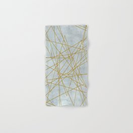Golden Faux Glitter Lines On Teal Grey Hand & Bath Towel