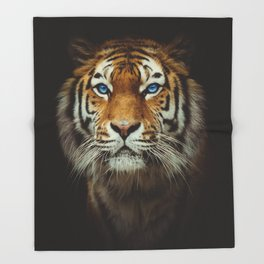 Wild Tiger with Blue eyes Throw Blanket