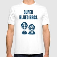 Super Blues Bros. White SMALL Mens Fitted Tee