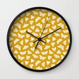 White Moths Wall Clock