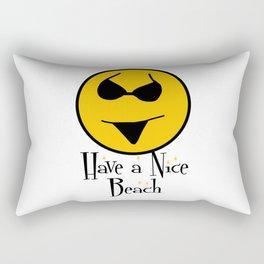 Smiley Bikini Have a Nice Beach Day In White Rectangular Pillow