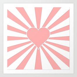 Pink Coral Valentine Love Heart Explosion Art Print