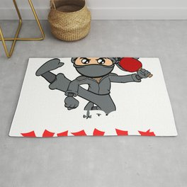 Big fan of table tennis? Here's a shirt with a twist. Ninja Playing Table Tennis Pingpong Racket Rug